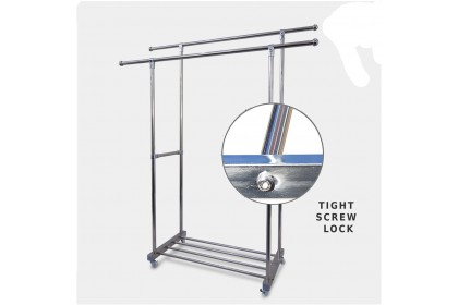 Clothes Rack Portable Stainless Steel Clothes Drying Rack Home Outdoor Hanging Rack With Roller Wheels Double Poles - MSF1683