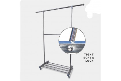 Clothes Rack Stainless Steel Non-Rust Laundry Rack Portable Clothes Drying Rack With Roller Wheels Single Pole - 1682