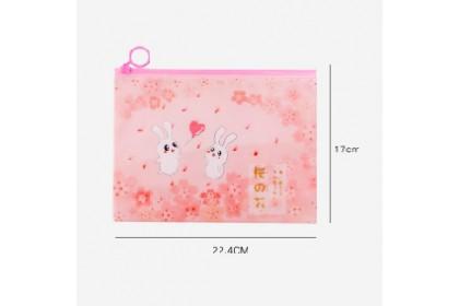 Storage Bag Unicorn Pink Leopard Rabbit Pencil Case Cosmetic Bag Student Pouch Flat Pouch Bag - ADCA1163