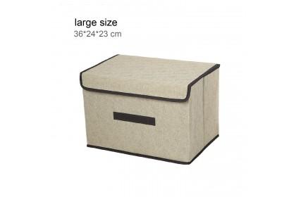 Bedroom Storage Box AMZ Linen Foldable Storage Box Wardrobe Clothes Storage Stationary Storage Bedroom Item Storage Wardrobe Organizer - ASZA036